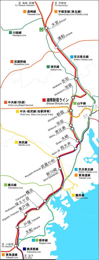 湘南新宿ラインの路線図