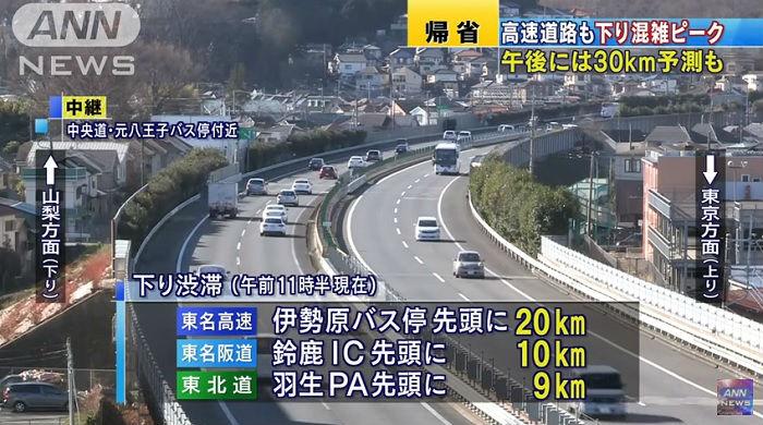 渋滞する東名阪道