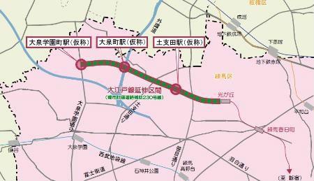 大江戸線の光が丘~大泉学園町の延伸計画