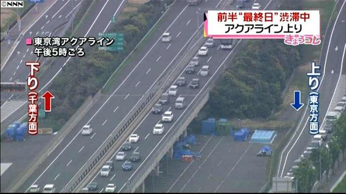 川崎浮島JCTを先頭にした渋滞