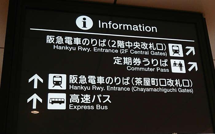 大阪駅と接する梅田駅