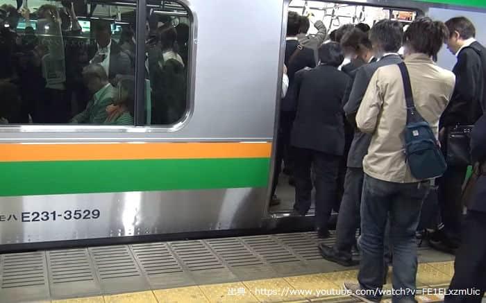 朝ラッシュの8時頃の東海道線