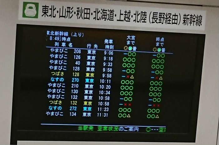 東北新幹線の指定席の空席情報